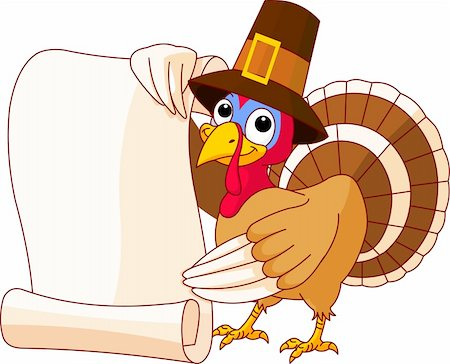 Illustration of Thanksgiving turkey holding scroll Stock Photo - Budget Royalty-Free & Subscription, Code: 400-04275517