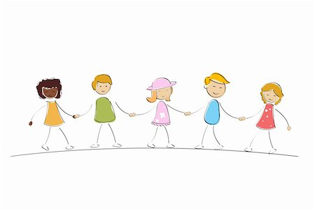 illustration of multi racial kids holding hands on isolated background Stock Photo - Budget Royalty-Free & Subscription, Code: 400-04275605