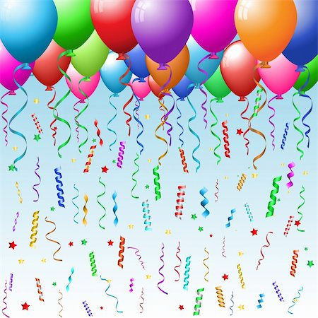 Party background with balloons, confetti and streamers Stock Photo - Budget Royalty-Free & Subscription, Code: 400-04276267
