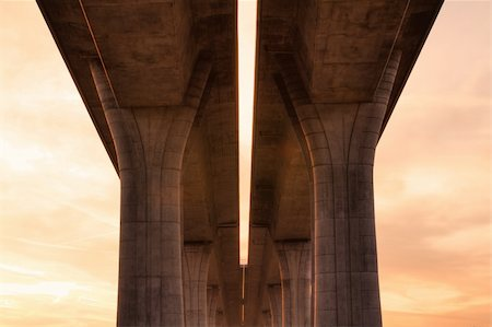 The detail of highway bridge at sunrise Stock Photo - Budget Royalty-Free & Subscription, Code: 400-04276297