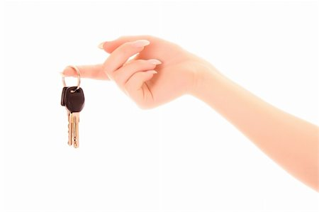 simsearch:400-05936191,k - Woman hand with keys isolated on white Stock Photo - Budget Royalty-Free & Subscription, Code: 400-04277016