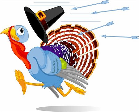 Cartoon turkey escapes from the arrows and loses his hat Stock Photo - Budget Royalty-Free & Subscription, Code: 400-04278232