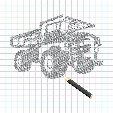 drawn curved - Hand-drown cargo truck sketch, vector illustration Stock Photo - Budget Royalty-Free & Subscription, Code: 400-04279577