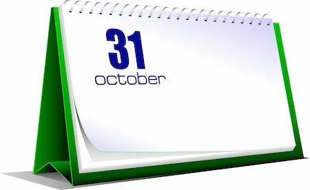 Vector illustration of desk calendar. 31 october. Halloween Stock Photo - Budget Royalty-Free & Subscription, Code: 400-04270321