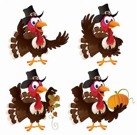 Pilgrim turkey cartoon illustration set Stock Photo - Budget Royalty-Free & Subscription, Code: 400-04270815