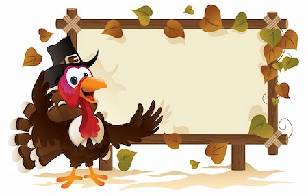 Pilgrim Turkey With A Signboard Stock Photo - Budget Royalty-Free & Subscription, Code: 400-04270816