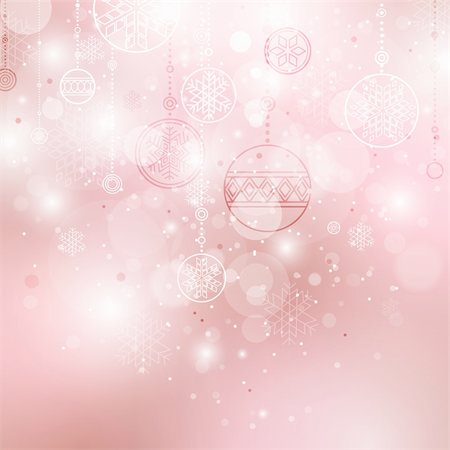 christmas background with baubles and snowflakes Stock Photo - Budget Royalty-Free & Subscription, Code: 400-04270881