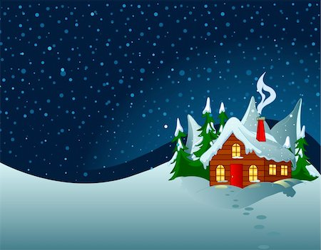 Little house in snowy hills. Pastoral  winter scene. Stock Photo - Budget Royalty-Free & Subscription, Code: 400-04271447