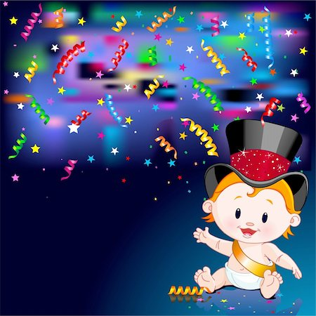 simsearch:400-04369855,k - Celebrations! Illustration of New Year Baby and streaming party confetti Stock Photo - Budget Royalty-Free & Subscription, Code: 400-04271448