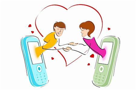 illustration of chatting on mobile on white background Stock Photo - Budget Royalty-Free & Subscription, Code: 400-04271833