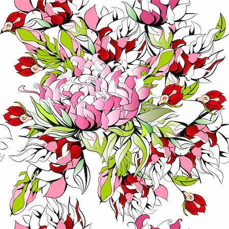 pattern paeonia - Summer seamless pattern Stock Photo - Budget Royalty-Free & Subscription, Code: 400-04272456