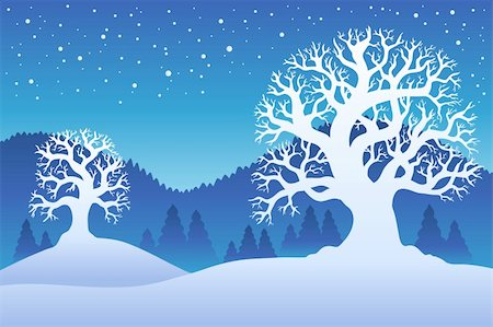 Two winter trees with snow 2 - vector illustration. Stock Photo - Budget Royalty-Free & Subscription, Code: 400-04272701