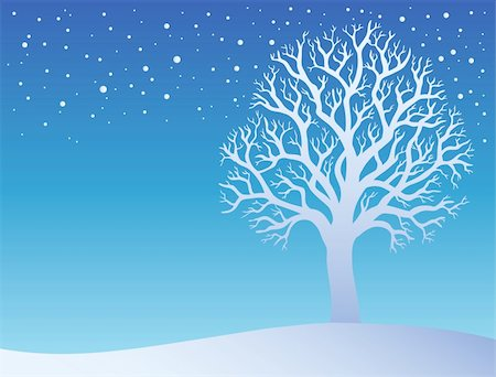 Winter tree with snow 3 - vector illustration. Stock Photo - Budget Royalty-Free & Subscription, Code: 400-04272735