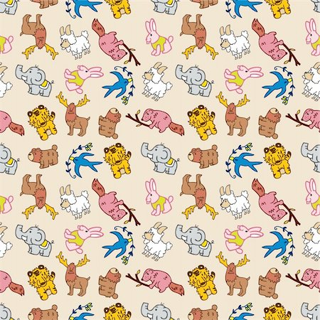seamless cute animal pattern Stock Photo - Budget Royalty-Free & Subscription, Code: 400-04273337
