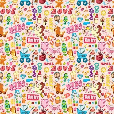 cartoon baby seamless pattern Stock Photo - Budget Royalty-Free & Subscription, Code: 400-04273340