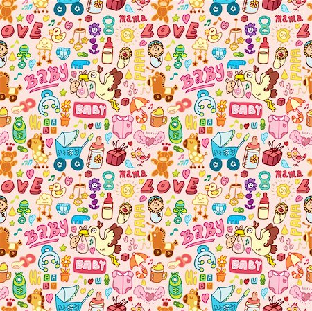 cartoon baby seamless pattern Stock Photo - Budget Royalty-Free & Subscription, Code: 400-04273340