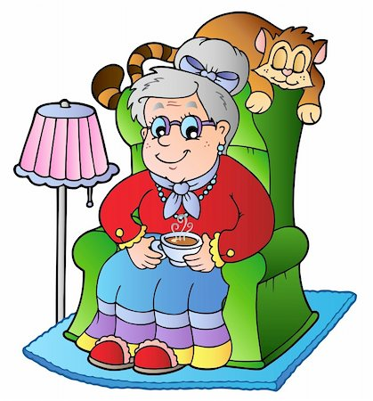 Cartoon grandma sitting in armchair - vector illustration. Stock Photo - Budget Royalty-Free & Subscription, Code: 400-04273397
