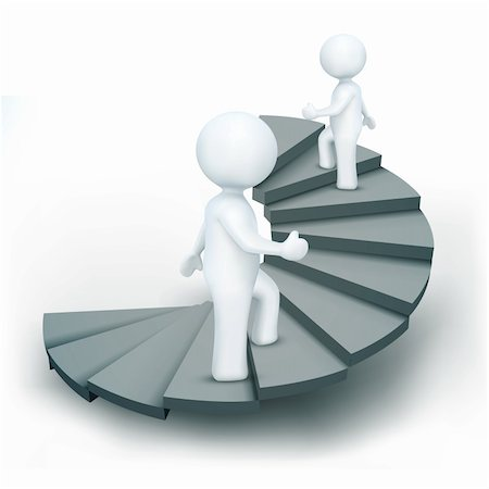 illustration of 3d characters climbing steps of success on an isolated white background Stock Photo - Budget Royalty-Free & Subscription, Code: 400-04273424