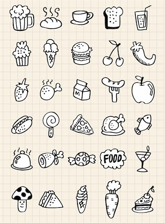 doodle food drink,hand draw Stock Photo - Budget Royalty-Free & Subscription, Code: 400-04273481