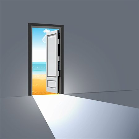 illustration of open door with sky Stock Photo - Budget Royalty-Free & Subscription, Code: 400-04273542