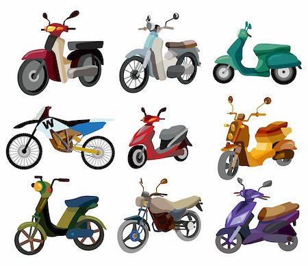 sports scooters - cartoon motorcycle Stock Photo - Budget Royalty-Free & Subscription, Code: 400-04273803