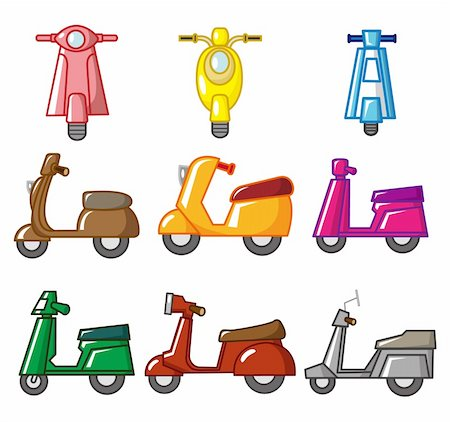 sports scooters - cartoon motorcycle Stock Photo - Budget Royalty-Free & Subscription, Code: 400-04273828
