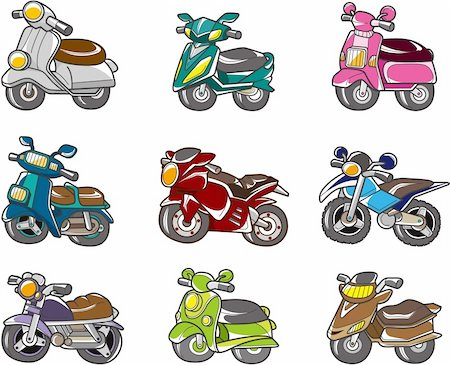 sports scooters - cartoon motorcycle Stock Photo - Budget Royalty-Free & Subscription, Code: 400-04273892