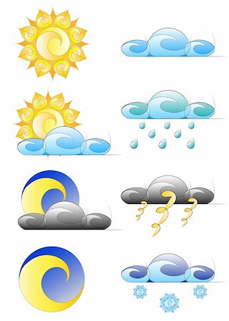 set of weather climate icons vector illustration, isolated on white background Stock Photo - Budget Royalty-Free & Subscription, Code: 400-04284006