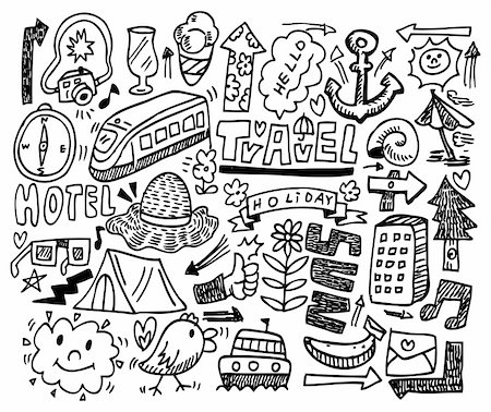 doodle travel Stock Photo - Budget Royalty-Free & Subscription, Code: 400-04284398