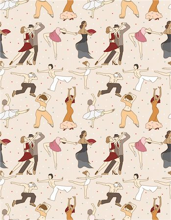 seamless dancer pattern Stock Photo - Budget Royalty-Free & Subscription, Code: 400-04284493