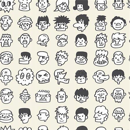 seamless cute cartoon pattern Stock Photo - Budget Royalty-Free & Subscription, Code: 400-04284502