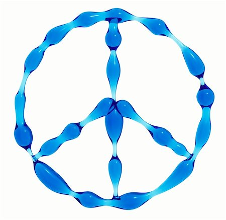 Peace symbol created of water isolated on white background. 3d render Stock Photo - Budget Royalty-Free & Subscription, Code: 400-04284869