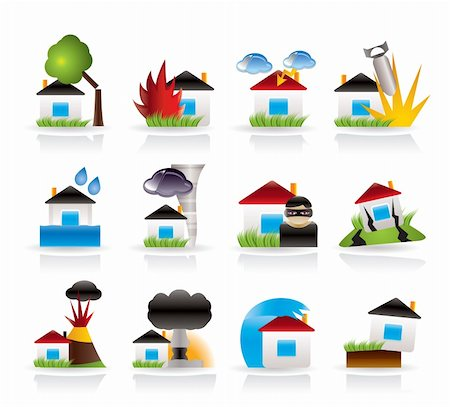 flooded homes - home and house insurance and risk icons - vector icon set Stock Photo - Budget Royalty-Free & Subscription, Code: 400-04285245