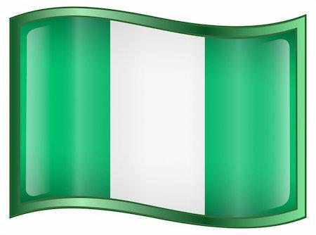 Nigeria Flag Icon, isolated on white background. Stock Photo - Budget Royalty-Free & Subscription, Code: 400-04285446