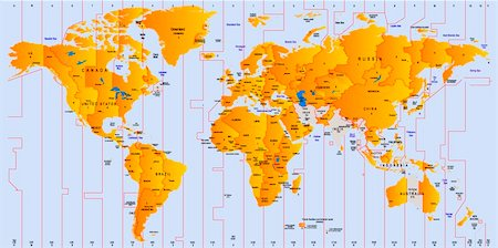 Timezone map - vector color illustration Stock Photo - Budget Royalty-Free & Subscription, Code: 400-04285843