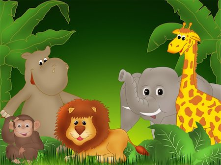 Illustration of cute animals among jungle plants Stock Photo - Budget Royalty-Free & Subscription, Code: 400-04285917