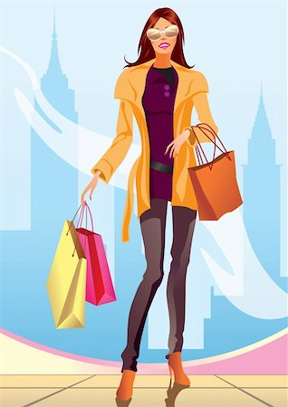 fashion shopping girl with shopping bag in New York- vector illustration Stock Photo - Budget Royalty-Free & Subscription, Code: 400-04286120