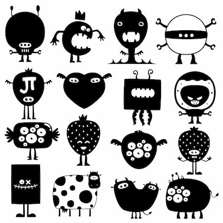 fly heart - Collection of cartoon crazy funny silhouette monsters Stock Photo - Budget Royalty-Free & Subscription, Code: 400-04286196