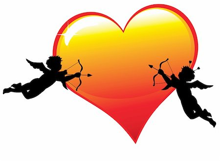 flying hearts clip art - Two  cupid silhouettes with a big glossy heart isolated on white background Stock Photo - Budget Royalty-Free & Subscription, Code: 400-04287366