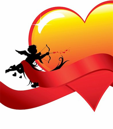 flying hearts clip art - Cupid silhouette with ribbons anda big glossy heart illustration. Stock Photo - Budget Royalty-Free & Subscription, Code: 400-04287361