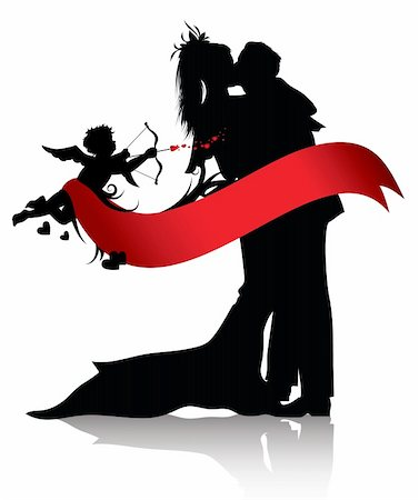 flying hearts clip art - Silhouettes of couple and cupid with red banner isolated on white background.You can find similar images in portfolio Stock Photo - Budget Royalty-Free & Subscription, Code: 400-04287362