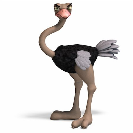 cute toon ostrich gives so much fun. 3D rendering with clipping path and shadow over white Stock Photo - Budget Royalty-Free & Subscription, Code: 400-04287950