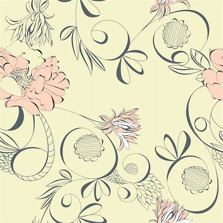 peonies graphics - Vintage seamless wallpaper Stock Photo - Budget Royalty-Free & Subscription, Code: 400-04288531