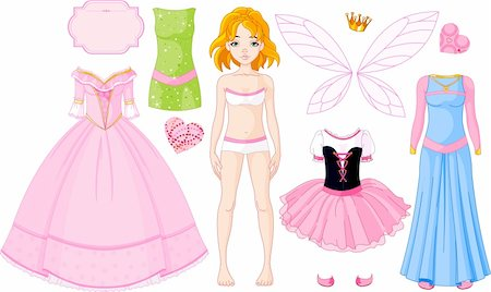 face woman beautiful clipart - Paper Doll with different princess dresses Stock Photo - Budget Royalty-Free & Subscription, Code: 400-04288756