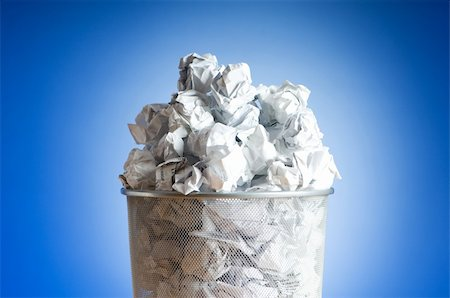 Garbage bin with paper waste isolated on white Stock Photo - Budget Royalty-Free & Subscription, Code: 400-04288962