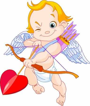 flying hearts clip art - Illustration of a Valentine's Day cupid ready to shoot his arrow Stock Photo - Budget Royalty-Free & Subscription, Code: 400-04289632