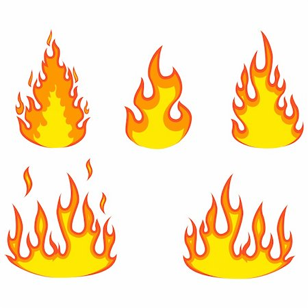 spark vector - Various fire elements isolated on a white. Vector illustration. Stock Photo - Budget Royalty-Free & Subscription, Code: 400-04289716