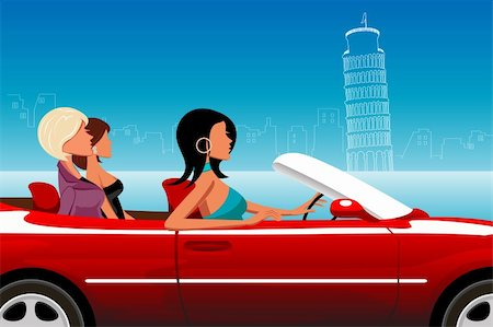 illustration of fashionable lady driving car Stock Photo - Budget Royalty-Free & Subscription, Code: 400-04289863