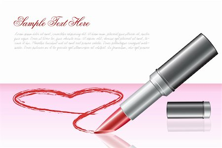 illustration of love heart with lipstick on white background Stock Photo - Budget Royalty-Free & Subscription, Code: 400-04289981