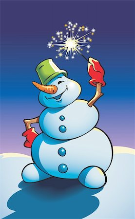 Snowman holding sparkler (Bengal light), vector illustration Stock Photo - Budget Royalty-Free & Subscription, Code: 400-04280879